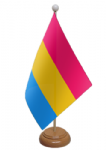 Pansexual Pride Desk / Table Flag with wooden stand and base